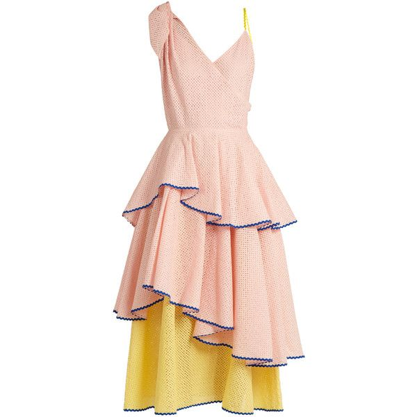 Anna October Broderie-anglaise ruffled dress ($669) ❤ liked on Polyvore featuring dresses, light pink, pastel dress, holiday dresses, ruffle cocktail dress, pink dress and pink frilly dress