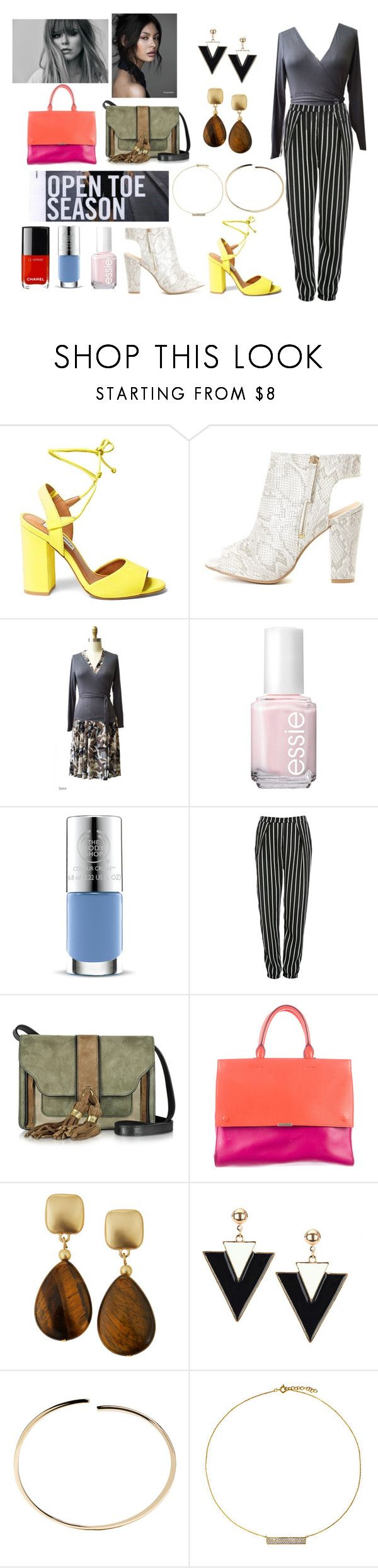 """""""Pants, Peep Toes, and Pedicures"""" by karina-dresses ❤ liked on Polyvore featuring Steve Madden, Essie, The Body Shop, Glamorous, L'Autre Chose, Victoria Beckham, Kenneth Jay Lane, Maison Margiela and Hysteric Co."""