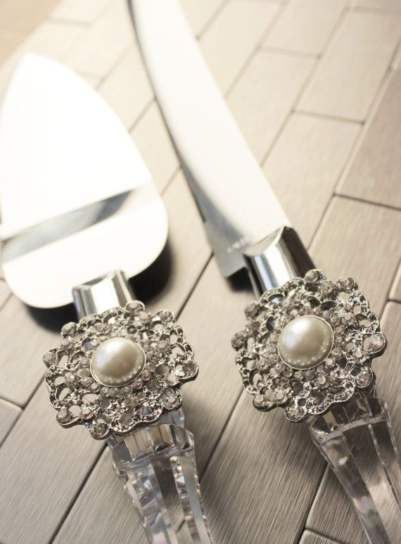Wedding Cake Serving Set w/ Pearl and Rhinestone Bling -- This beautiful and unique serving set will add the perfect elegant touch to your