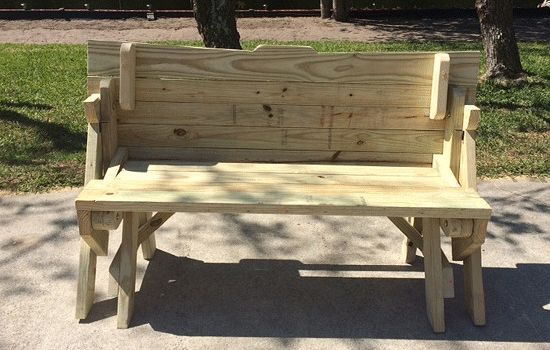 Folding picnic table from 2x4 lumber made by Mike Hayes