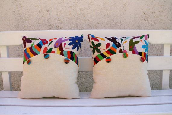 Otomi Sham Pair Multi colored buttons Embroidery by CasaOtomi, $107.00
