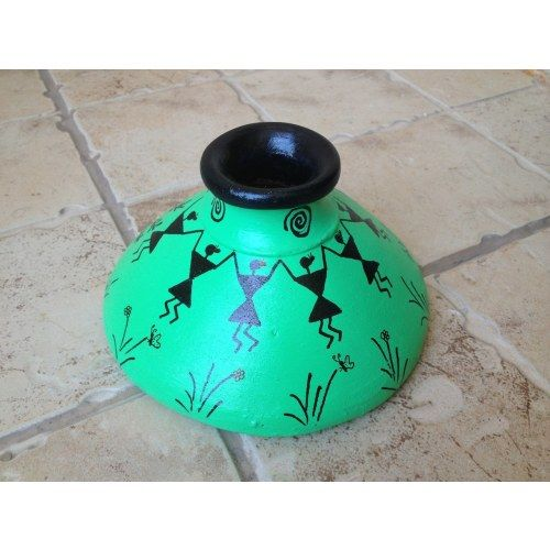 Green Handmade Hand Painted Terracotta Vase with Warli Art