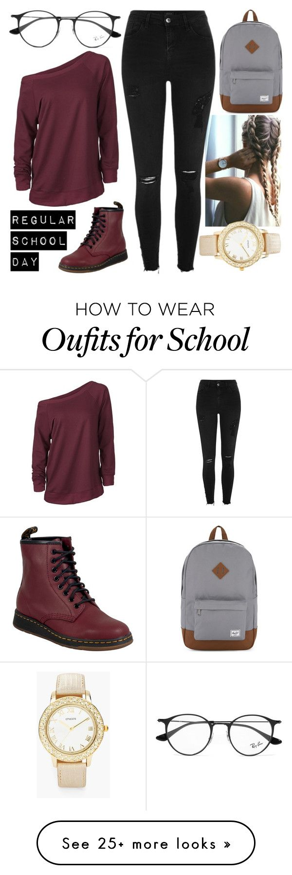 """Regular School Day"" by iouzzani on Polyvore featuring River Island, Herschel Supply Co., Ray-Ban, Dr. Martens and Chico's"