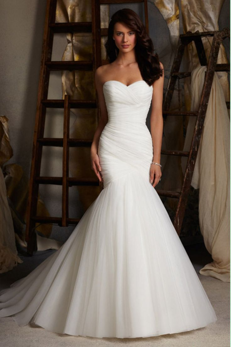 wedding dress trumpet wedding dresses Delicate Sweetheart Mermaid Trumpet Wedding Dress Pleated Bodice With Tulle Skirt Lace Up