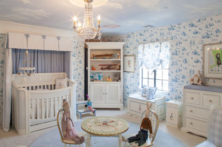 breathtaking Peter Rabbit Nursery Traditional design ideas with area rug chandelier changing table hutch kids chair kids table light blue