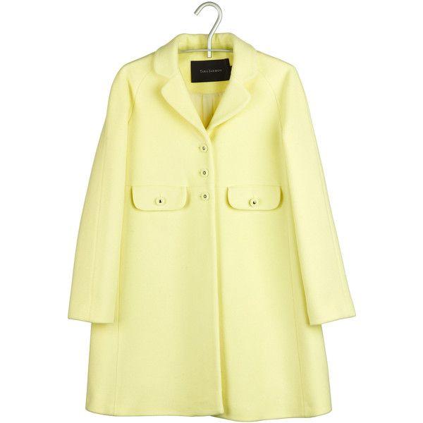 Tara Jarmon Manteau trapèze laine Jaune ($330) ❤ liked on Polyvore featuring outerwear, coats, jackets, tops, coats & jackets, women, tara jarmon coat, beige coat and tara jarmon