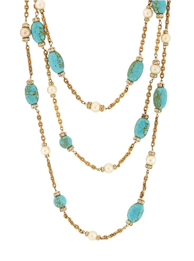 Vintage Chanel Turquoise and Pearl Link Necklace at London Jewelers!