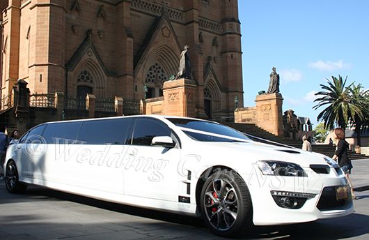 gorgeous HSV wedding car outside St Mary's Cathedral in Sydney