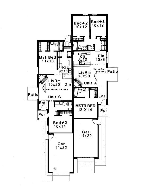 131 multi family apartment plans multi family plan w3036 for Ranch duplex plans