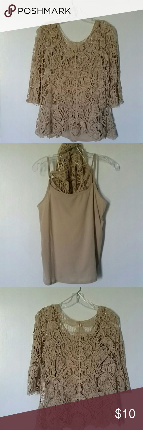 Neutral lace blouse w/ attached cami This garment is like new, been worn a few times for a couple of hours. It is midi sleeved, with neutral cami included as part of the garment.  Lace 100% cotton, cami 100%polyester.  Can be worn dressy or casual. Tops Blouses