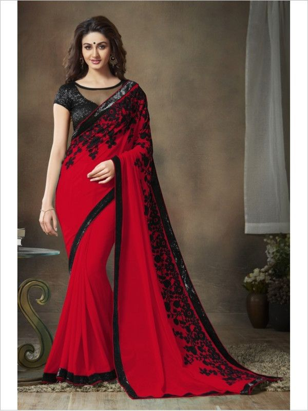 Red Party Wear Georgette Saree