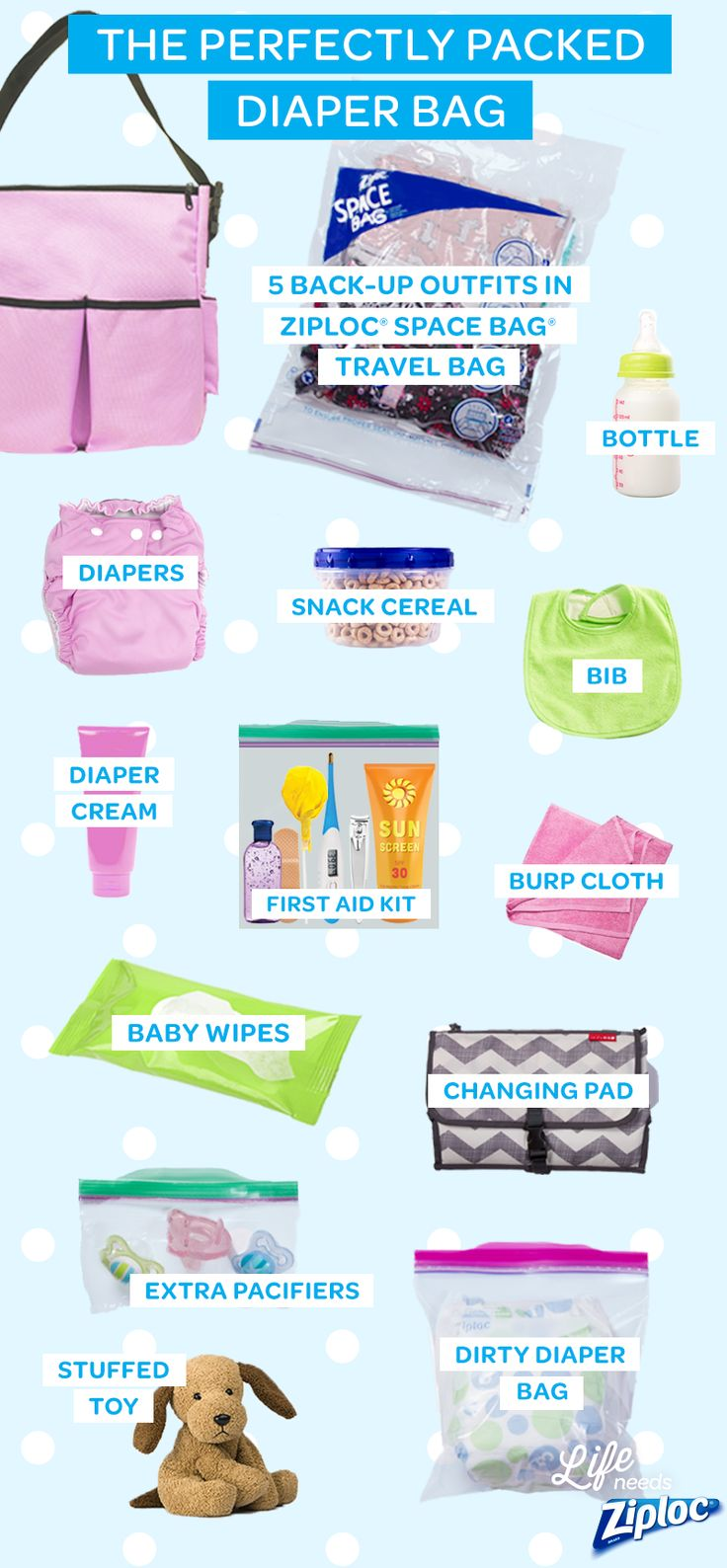 If you're a new parent or have a newborn in your family, use this checklist of diaper bag essentials to make sure you're ready for any emergency your baby might have. Besides the basics like diapers, pacifiers, a bottle, snack cereal, a bib, and a changing pad, we recommend storing several extra outfits in a Ziploc® Space Bag® Travel Bag so you'll be prepared for anything.