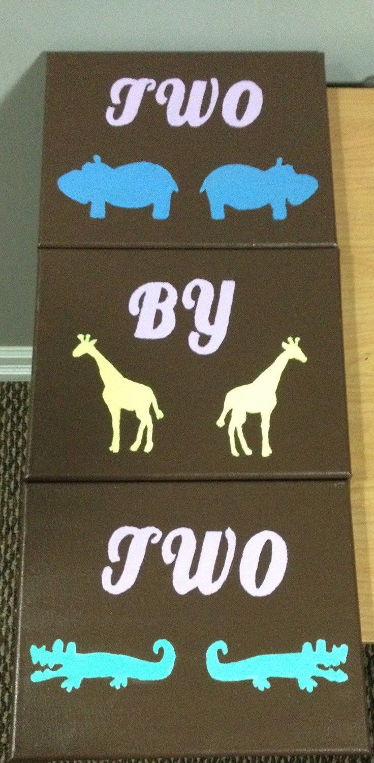 Two By Two Noah's Ark Nursery Painting Wall Art For Boy or Girl by CuteandCustomCanvas on Etsy https://www.etsy.com/listing/250791423/two-by-two-noahs-ark-nursery-painting
