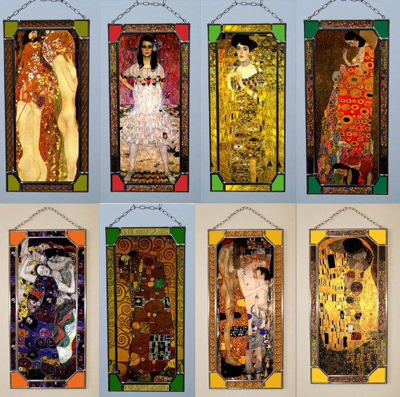 "Gustav Klimt,Stained Glass Window. (Price for all) Size: 1 Snakes - 270 mm x 130 mm (10.12"" x 5.2"") 2 Mäda Primavesi - 270 mm x 130 mm (10.12"" x 5.2"") 3 Adele - 270 mm x 130 mm (10.12"" x 5.2"") 4 Hope 2 - 270 mm x 130 mm (10.12"" x 5.2"") 5 Virgins - 270 mm x 130 mm (10.12"" x 5.2"") 6 Hope - 270 mm x 130 mm (10.12"" x 5.2"") 7 Mother and Child - 270 mm x 130 mm (10.12"" x 5.2"") 8 Kiss - 270 mm x 130 mm (10.12"" x 5.2"") Price for all"