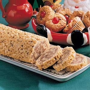 Crispy Chocolate Log Recipe     10 ServingsPrep: 15 min. + chilling15 15 Ingredients  1 package (10 ounces) large marshmallows  1/4 cup butter, cubed  1/4 cup peanut butter  5-1/2 cups crisp rice cereal  1-1/3 cups semisweet chocolate chips  3/4 cup butterscotch chips  Directions  Line a 15-in. x 10-in. x 1-in. pan with waxed paper; grease the paper and set aside. In a large microwave-safe bowl, combine the marshmallows, butter and peanut butter. Cover and microwave on high for 1-1/2…