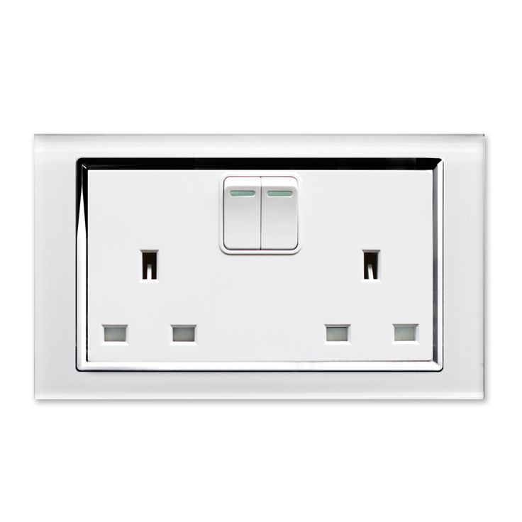 Crystal 13A DP Double Plug Socket with Switch White CT