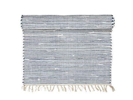 Gulvtæppe - stribet - blå og hvid - findes i 2 størrelser