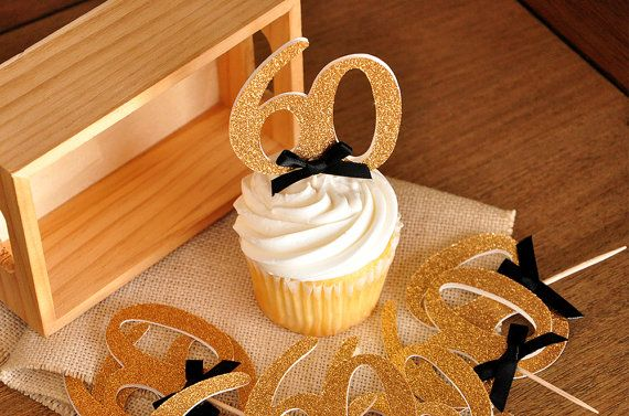 """60th Birthday Party Ideas.  Ships in 2-5 Business Days. Glitter Gold Number """"60"""" Cupcake Toppers 12CT."""