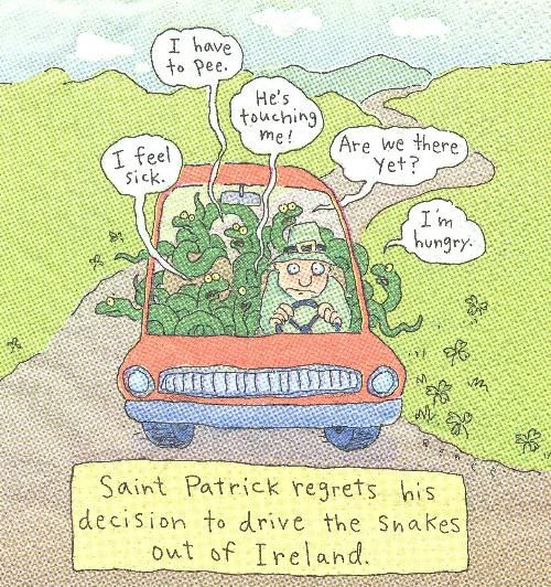 """Saint Patrick regrets his decision to drive the snakes out of Ireland"": Catholic Humor, Humor And Or, Funny Humor, Hippie Peace, Plain Funny, Twists Humor, Ole St., Patrick'S Regrets, Nae Nests"