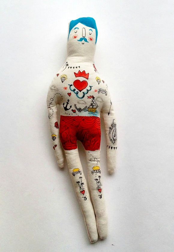 Hand-Painted Tattooed Sailor Doll By Blue Raspberry Designs