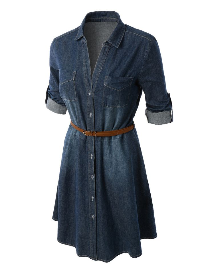 Womens Casual Chambray Denim Flared Shirt Dress With Belt