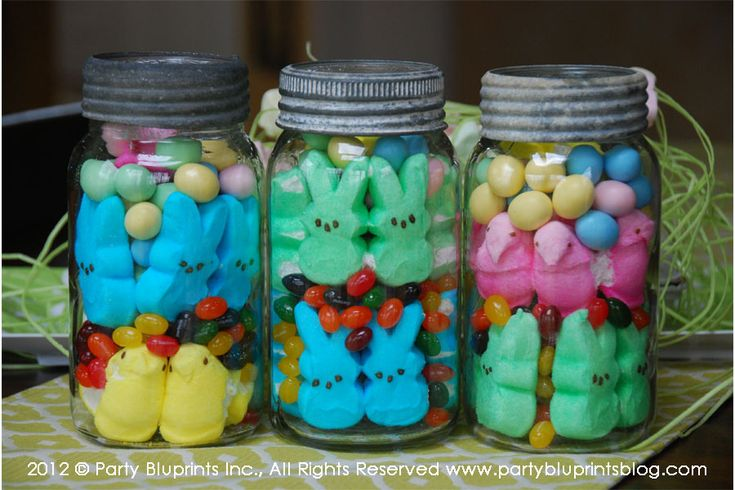 Peeps in vintage mason jars centerpiece
