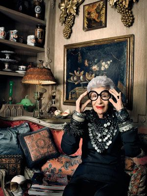 RARE BIRD OF FASHION IRIS APFEL, who turned 90 this past summer, has amassed an astounding collection of jewelry, culled from hole-in-the-wall shops, haute couture ateliers, trade shows, and Turkish souks.  http://www.wmagazine.com/accessories/2011/10/iris-apfel-jewelry-line#ixzz1uEzBWLoG
