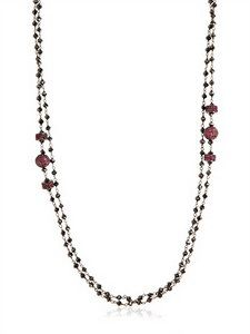 Angelo Di Spirito Rosa - Black Diamond & Ruby Rosary Necklace | FashionJug.com