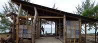 Marine awareness and meeting place build by 'Arkitrek' volunteers with driftwood  on Mantanani