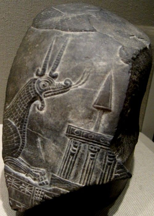 Mushussu (also known as Mushhushshu or Sirrush) is the Dragon of Babylon and one of two animals depicted on the Ishtar Gate. It is depicted here on a kudurru (boundary stone) with divine symbols. This limestone kudurru dates back to the Second Dynasty of Isin, 1156-1025 BCE.