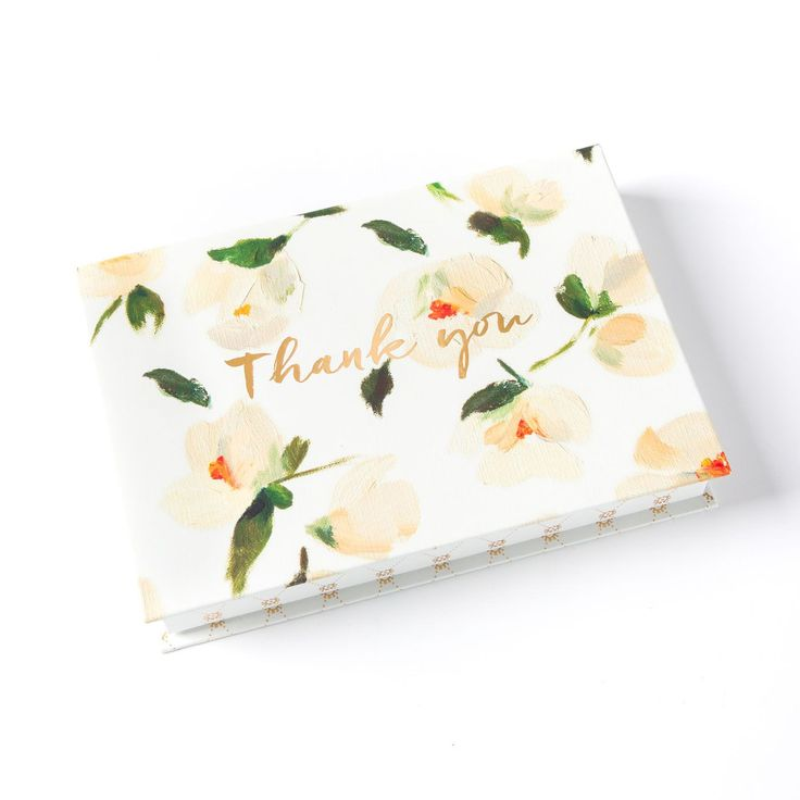 how to write thank you notes for wedding gift cards%0A Aveline White Flowers Keepsake Boxed Thank You Cards  Set of