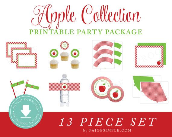 Apple Birthday Party or Baby Shower Invitation Red by PaigeSimple