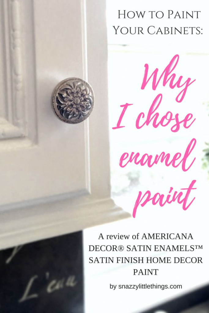 Latex vs. enamel paint? Why I chose enamel paint for my kitchen cabinets. By SnazzyLittleThings.com