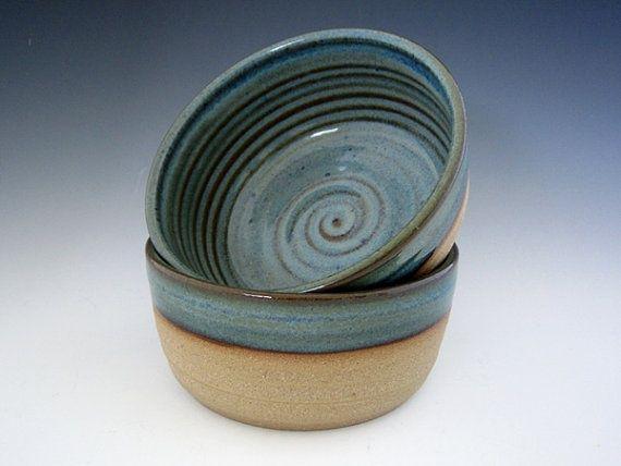 Desert Mirage Bowl Pair - Wheel Thrown Stoneware Pottery by DirtKickerPottery