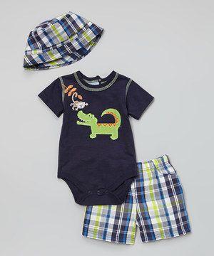 Look at this #zulilyfind! Navy & Green Crocodile & Monkey Bodysuit Set by Duck Duck Goose #zulilyfinds