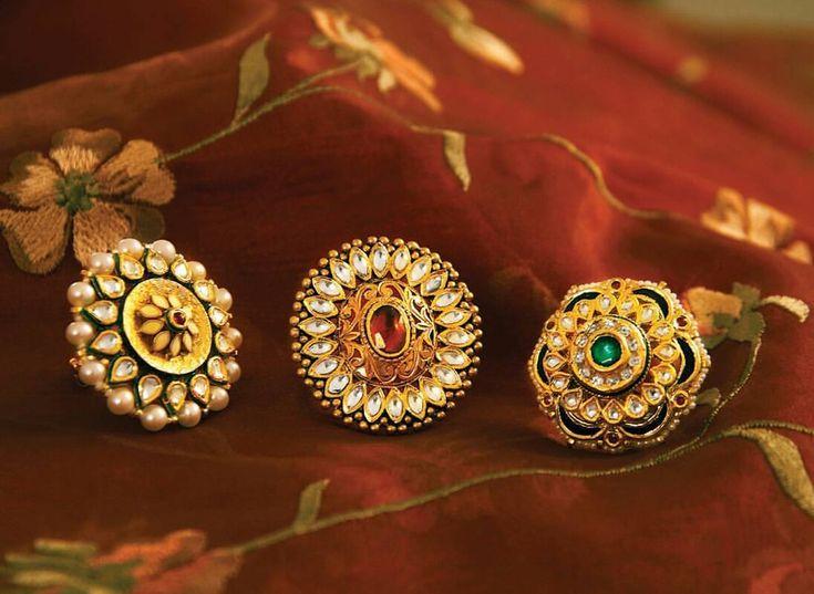 "748 Likes, 25 Comments - Manubhai Jewellers (@manubhaijewels) on Instagram: ""Trio for Mehendi, Sangeet and Wedding. #Gold #Ring #Royal #Mehendi #Sangeet #Wedding #Jewellery…"""