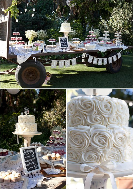 just married bunting for the dessert table + cute cupcake chalkboard sign with an old wagon? Maybe!