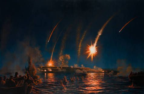 naval war scenes painting - Google Search