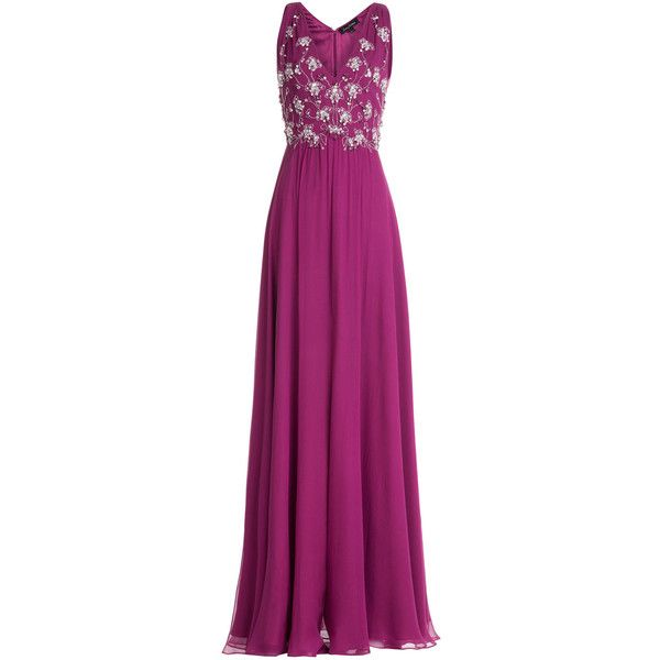 Jenny Packham Embellished Silk Evening Gown (4.475 BRL) ❤ liked on Polyvore featuring dresses, gowns, long dresses, purple, long fitted dresses, long v neck dress, v neck gown, purple ball gowns and long beaded dress