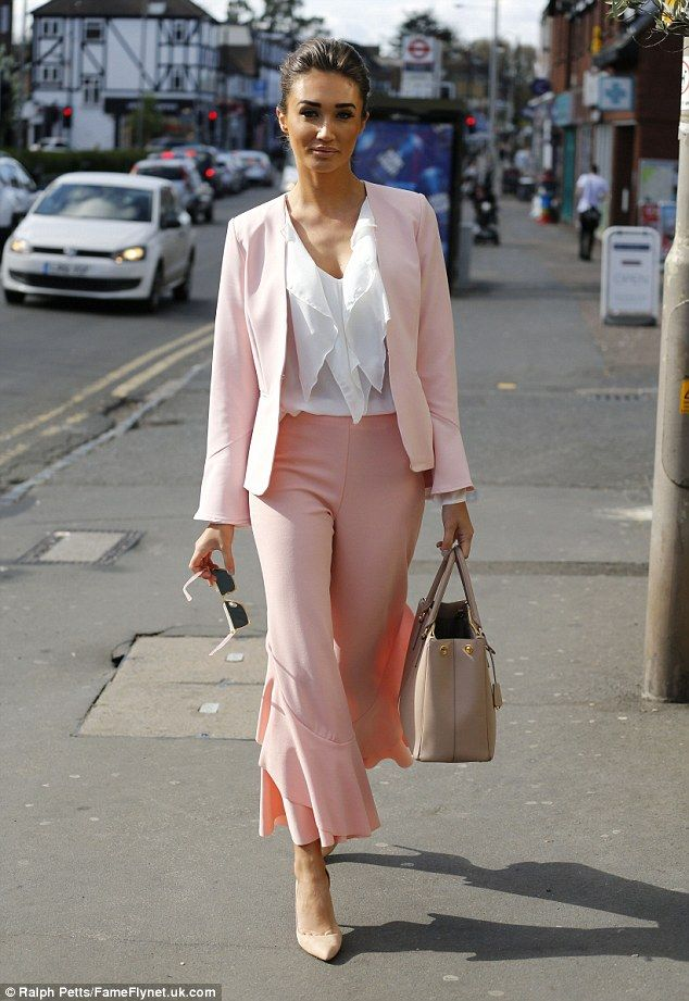 Pink to make them wink: Megan McKenna was back filming TOWIE with her fellow co-stars on M...
