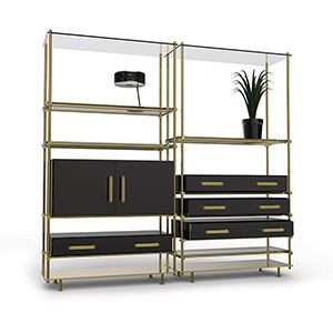 Mulligan is a bookcase built arround a gold plated brass structure, holding glossy black poplar doors and drawers, accentuated by contemporary stylish brass handles and smoked glass shelves. All mixed produce a sleek mid-century modern design piece, both retro and fresh.