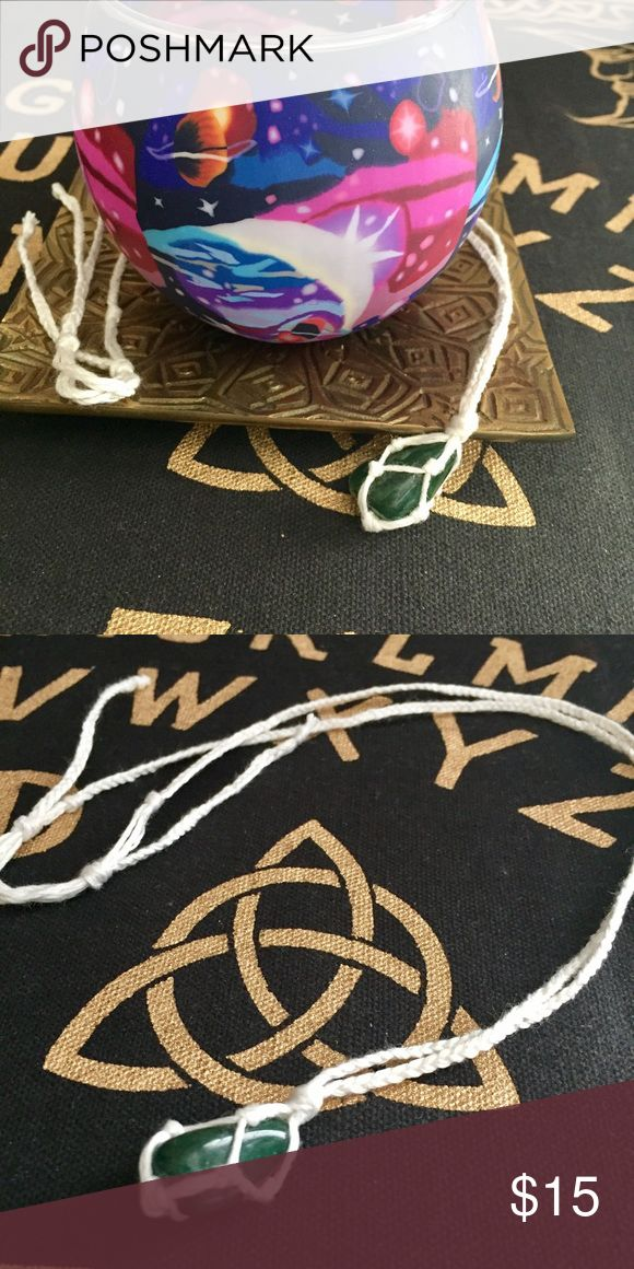 Handmade Braided Emerald Stone Necklace Hand made, Braided necklace with an emerald colored stone enclosed in a white cord, made of natural fibers **Due to taking the time to personally hand made, the prices are firm** Jewelry Necklaces
