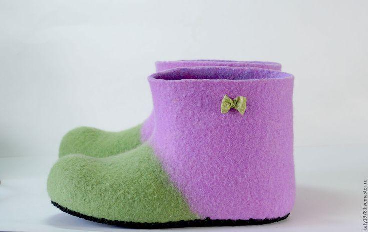Купить Тапочки валяные детские - шерсть 100%, Мокрое валяние, домашние тапочки, домашняя обувь