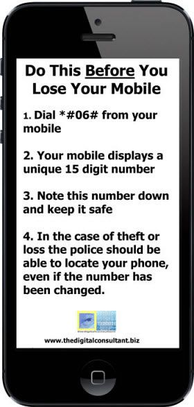 Do this before your mobile phone is stolen. #security #mobile #smartphone http://www.thedigitalconsultant.biz