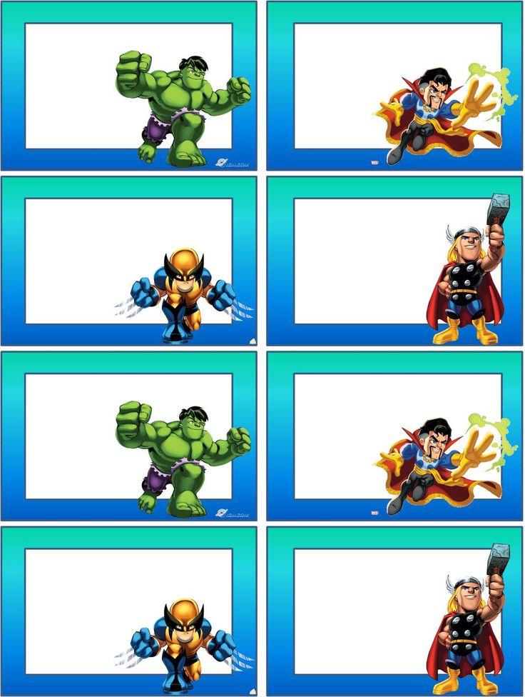 Estas foram as escolhas do meu filho para as suas etiquetas da escola, os heróis da Marvel da Super Hero Squad. E como os seus desejos não ...