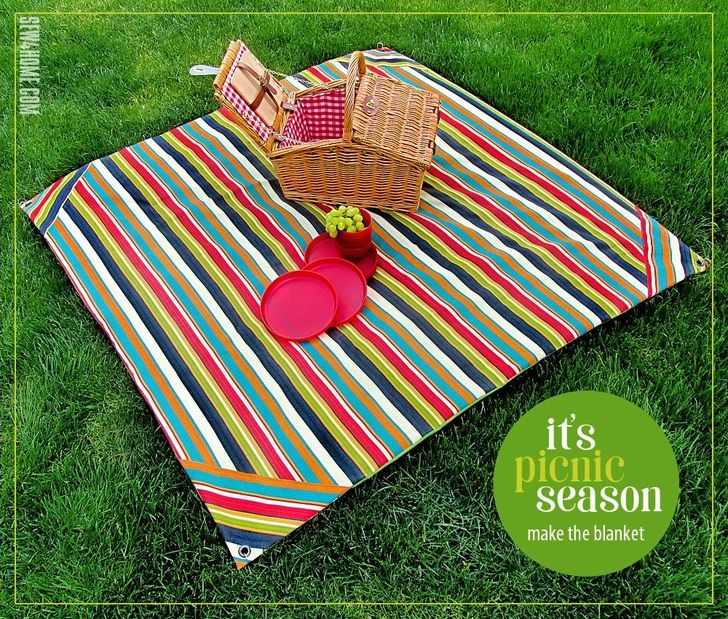 Picnic Blanket With Carry Wrap Wind Spike Grommets Sew4home