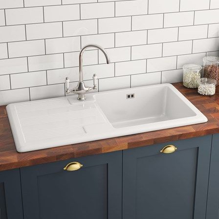 85 best ceramic kitchen sinks images on pinterest ceramic kitchen butler rose 1 bowl white ceramic kitchen sink waste kit with reversible drainer 1010 x 510mm workwithnaturefo