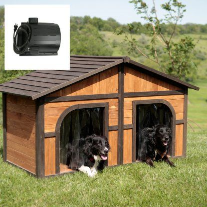 Merry Products Darker Stain Duplex Dog House With Heating & Cooling Unit Package at Hayneedle