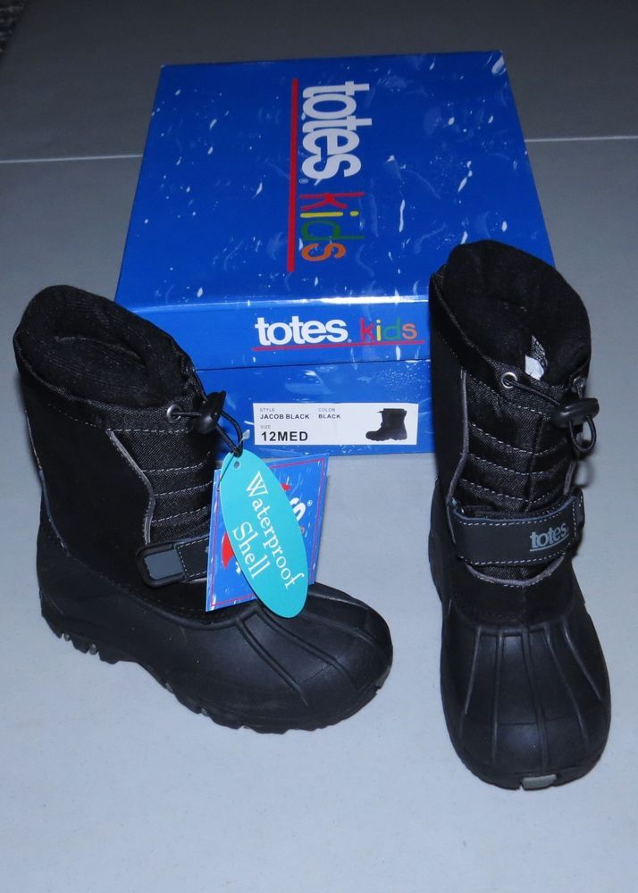 TOTES Winter Boots NEW Kids 1 Med Jacob BLACK Boys or Girls Rubber Bottom 1M NIB #winter  #Boots #snow