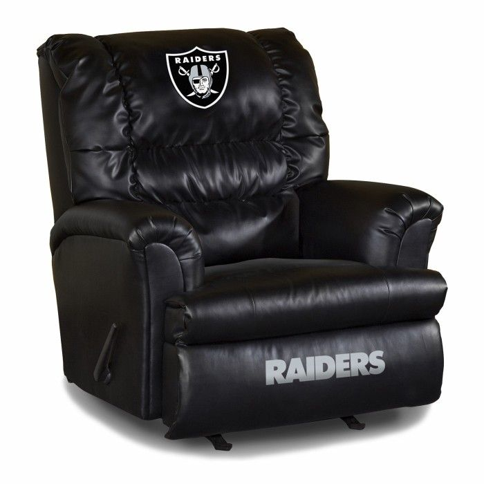 oakland raiders nfl big daddy leather recliner - Black Leather Recliner